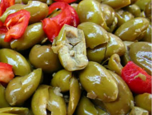 The traditional Calabrian crushed olives
